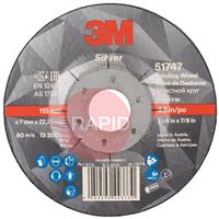 3M-51747 3M Silver Depressed Center Grinding Wheel 115mm x 7mm x 22.23mm (Box of 10)