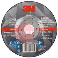 3M-51748 3M Silver Depressed Center Grinding Wheel 125mm x 7mm x 22.23mm (Box of 10)