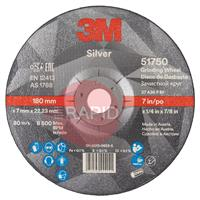 3M-51750 3M Silver Depressed Center Grinding Wheel 178mm x 7mm x 22.23mm (Box of 10)