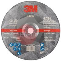 3M-51751 3M Silver Depressed Center Grinding Wheel 230mm x 7mm x 22.23mm (Box of 10)