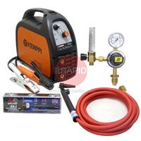 6102150CKT Kemppi Minarc 150 MMA and Lift Tig Package with Arc Cables, CK9V Tig Torch and Regulator, 240v