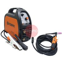 6102150TP Kemppi Minarc 150 MMA and Lift Tig Package with Arc Cables and TTM 15V 4m Tig Torch, 240v