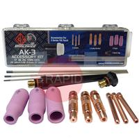CK-AK3 CK Tig Torch Accessory Kit For CK210, TL210, FL250, CK300, TL300, CK18, TL18, CK26, TL26 & Kemppi 220, 250W (See Chart For Contents)