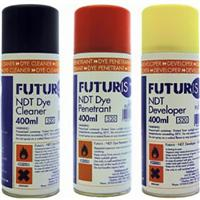 DDPK3 Futuris NDT Crack Detector Kit. 400 ml Sprays. Cleaner, Develper and Dye.