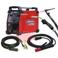K14099-1MP Lincoln Speedtec 200C, 200A 5 in 1 Multi-Process Mig / Tig & Arc Welder, with Arc Leads, Mig & Tig Torches and Gas Regulator, 230V