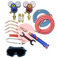 KITWLDOXACBE Type III Medium Duty Oxy Acetylene Welding Kit with Bottom Entry Regulators