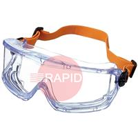 PUL1006193 Honeywell V-Maxx Safety Goggles - Clear PC Lens with FogBan Coating. Indirect Ventilation with Elastic Headband Clip EN166
