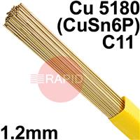 RO081250 SIFPHOSPHOR BRONZE No 8 rod 1.2 Dia mm 5.0kg Pkt (approx 525pcs) EN 14640 Cu 5180 (CuSn6P), BS: 2901 C11