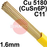 RO081650 SIFPHOSPHOR BRONZE No 8 rod 1.6 Dia mm 5.0kg Ctn Cu 5180 (CuSn6P), BS: 2901 C11