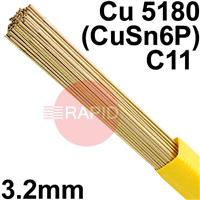 RO083225 SIFPHOSPHOR BRONZE No 8 rod 3.2 Dia mm 2.5kg Ctn, Cu 5180 (CuSn6P), BS: 2901 C11