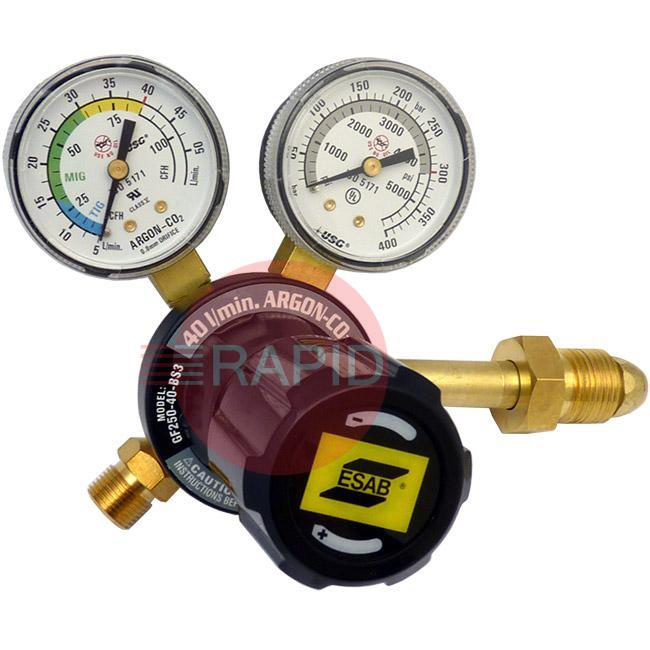 "0785-2166  ESAB / Victor G Series Argon/CO2 Single Stage Preset Regulator 40l/min, Side Entry, G 5/8"" RH Inlet, G 3/8"" Outlet, UK Fitting Only"