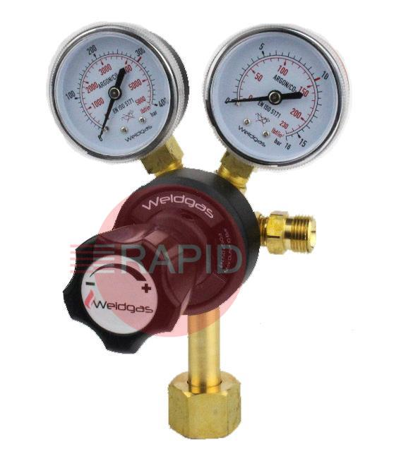 "2047  Co2 Regulator with 2 Gauges, W21,8x14/1"" Cylinder Connection, 3/8"" BSP Outlet"