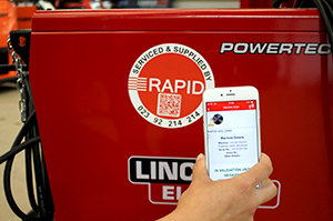 Scanning machine barcodes to find validation status, repair history, manuals and parts in the Rapid Welding App